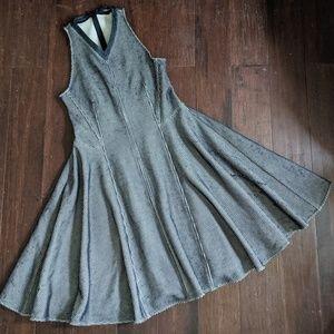 Derek Lam navy white intarsia sleeveelss dress 10